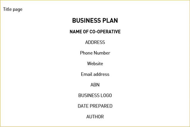 co operative business plan